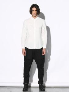 线锁男装白色衬衫