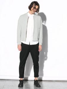 线锁男装灰色夹克