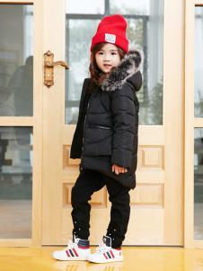 兔子杰罗中童秋冬新款黑色羽绒服