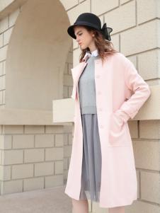 欧米媞2017秋冬新款粉色大衣