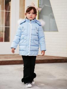 兔子杰罗中童秋冬新款浅蓝色羽绒服