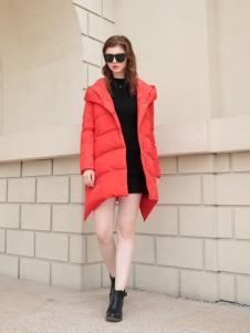 欧米媞2017秋冬新款红色羽绒服