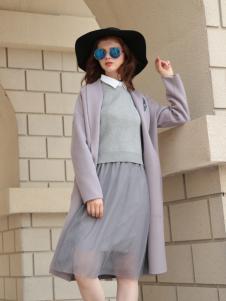 欧米媞2017秋冬新款浅紫色风衣