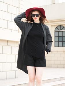 欧米媞2017秋冬新款黑色大衣