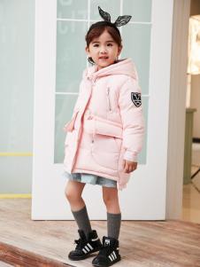 兔子杰罗中童秋冬新款粉色羽绒服