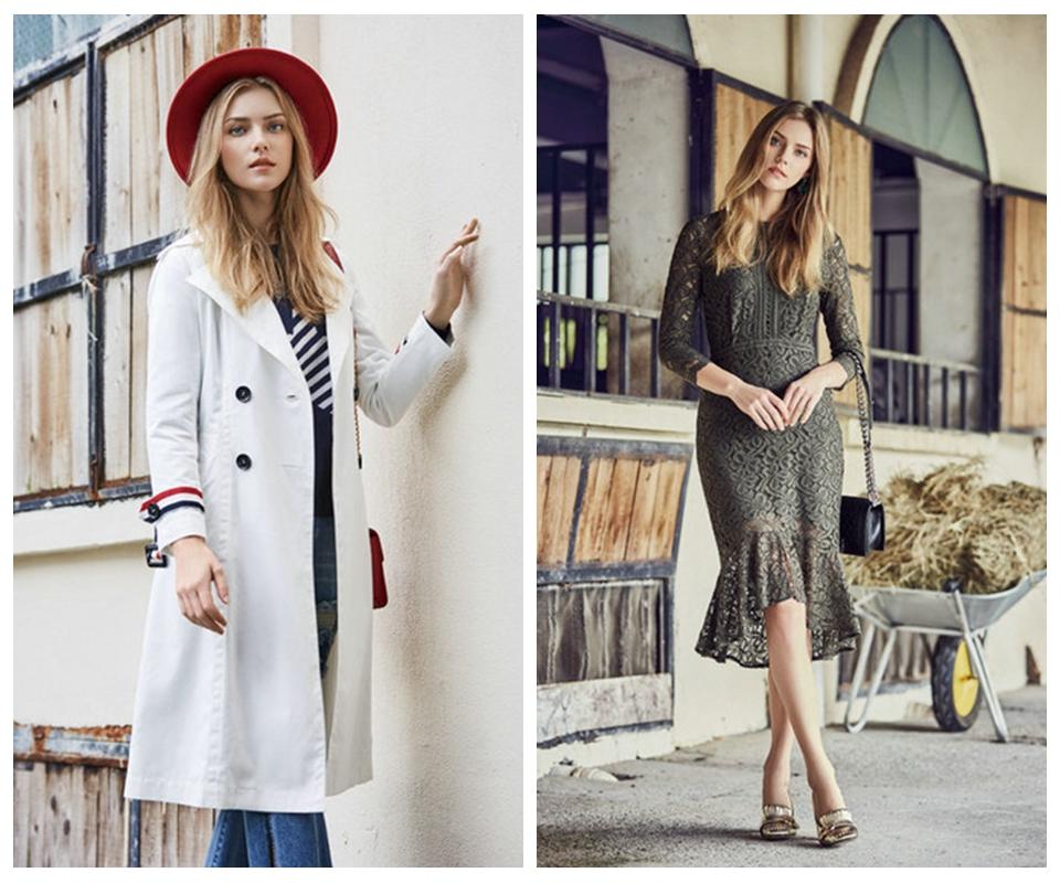 纷漫18春装时尚风衣折扣批发 品牌女装折扣店货源供应广州哪有