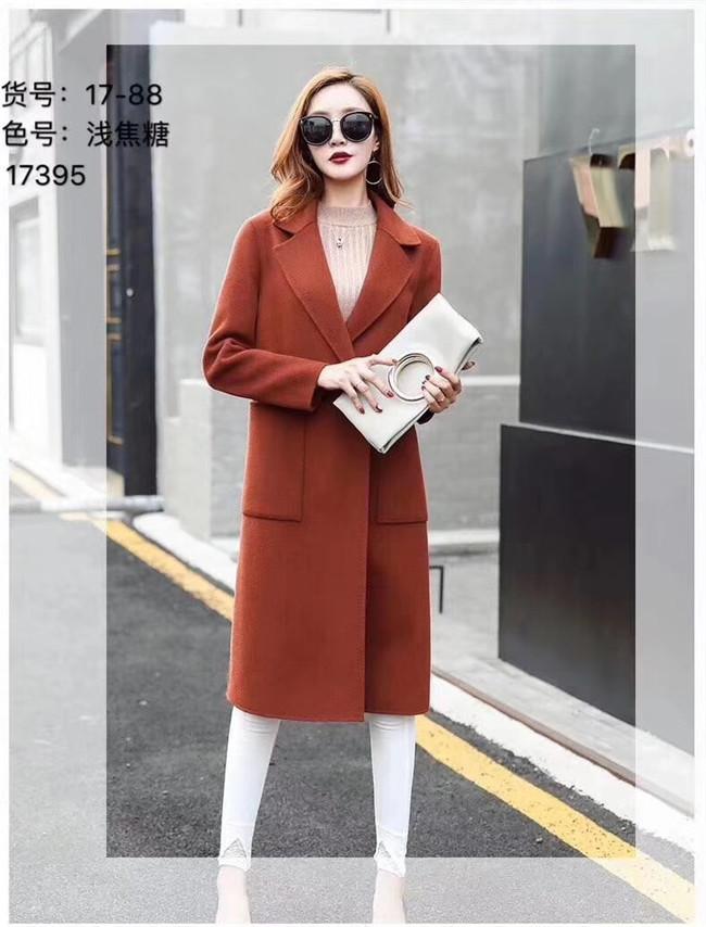 欧美风2017当季新款品牌双面羊绒大衣时尚修身长款明星同步