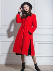 Geeborch歌宝琪秋冬新款红色大衣