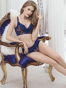 彩婷内衣秋冬新品深蓝色套装