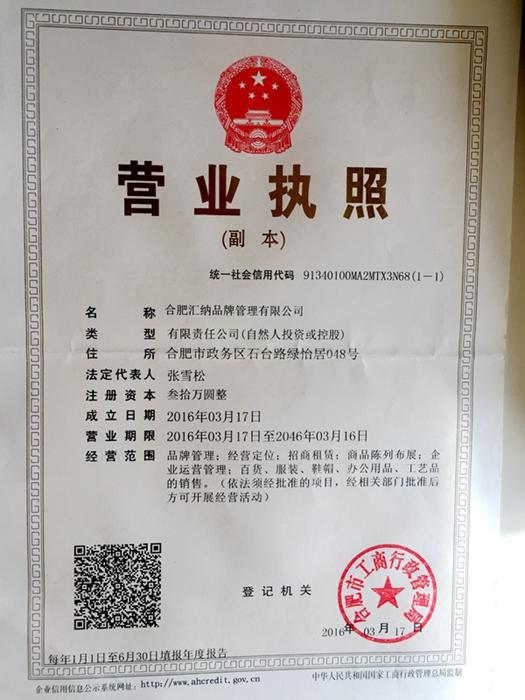 合肥匯納品牌管理有限公司企業檔案