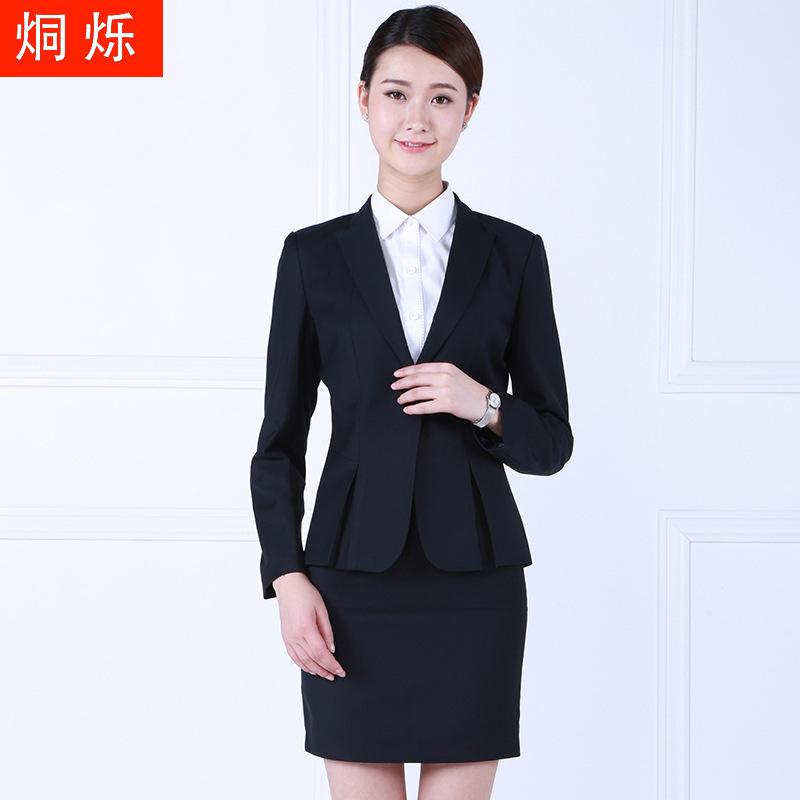 湖南烔烁藏青翻领西装职业女士套裙厂家直供批发