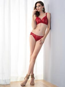 艾慕内衣红色套装系列