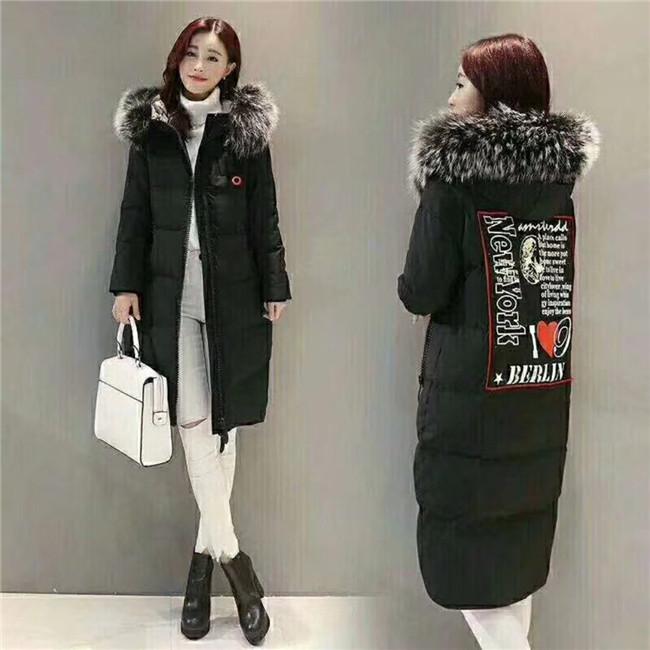 韩版2017当季新款大山羽绒服折扣批发,大毛领长款,时尚修身,品牌女装批发