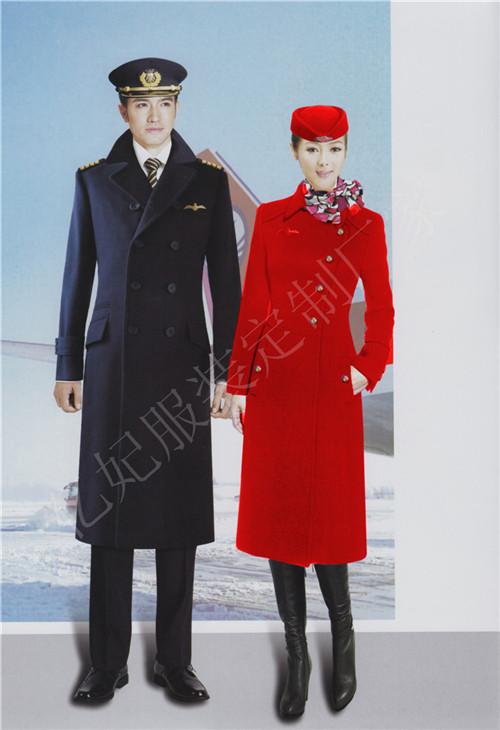 空姐长款毛呢大衣 酒店迎宾员保暖加长款大衣 前台女外套妮子加棉加厚