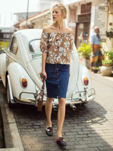 伊纳芙女装春夏新款牛仔半裙