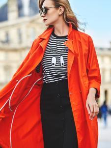 伊纳芙女装春夏新款红色风衣