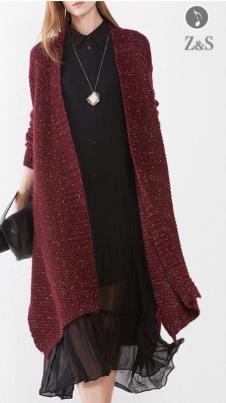 2017年冬装新款酒红针织