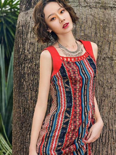 2018印巴文化复古修身连衣裙