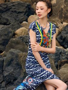 2018印巴文化精致刺绣连衣裙