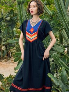 2018印巴文化刺绣复古连衣裙