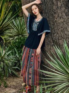 2018印巴文化文艺复古套装裙