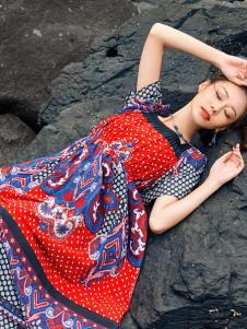2018印巴文化印花民族风连衣裙