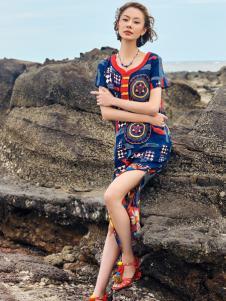 2018印巴文化印花复古连衣裙