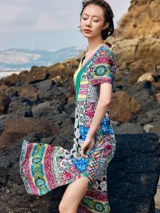 2018印巴文化精致印花连衣裙