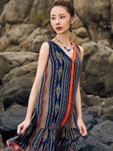 2018印巴文化吊带连衣裙