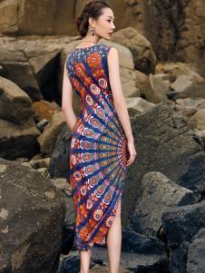 2018印巴文化唯美印花裙