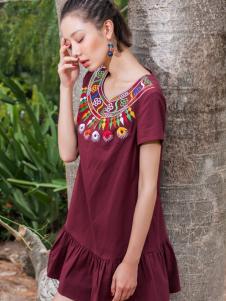 2018印巴文化唯美刺绣连衣裙