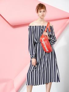 YDG春装新款条纹连衣裙