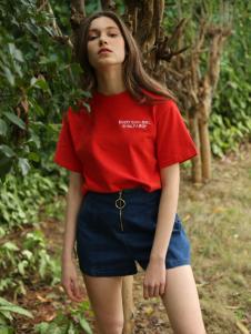 Ouyue欧玥2018红色T恤