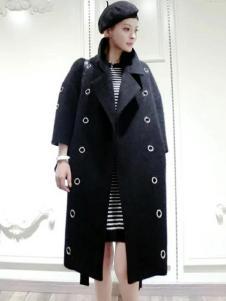格蕾斯女装新款黑色大衣