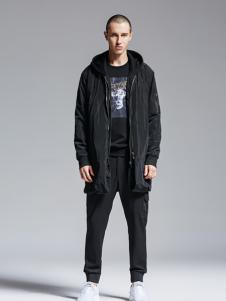 Fivecaman法卡蔓新款黑色长外套