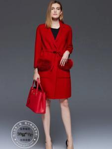 格蕾斯女装新款红色大衣