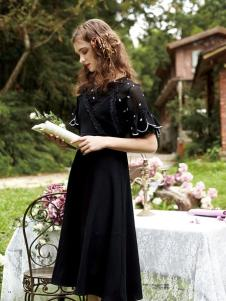 TRUGIRL楚阁新款黑色连衣裙