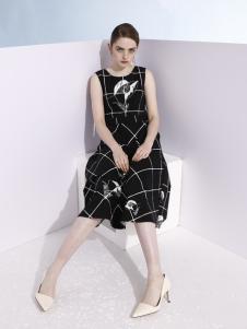 欧米媞2018春夏新款黑色格子裙