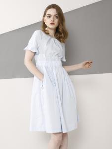 欧米媞2018春夏新款短袖连衣裙