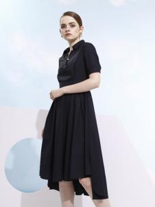 欧米媞2018春夏新款黑色衬衫领连衣裙
