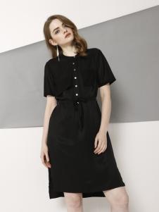 欧米媞2018春夏新款黑色连衣裙