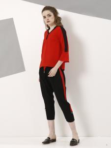 欧米媞新款红色T恤