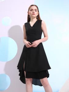 欧米媞2018春夏黑色连衣裙