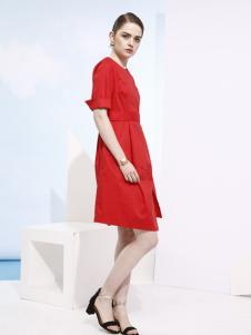 欧米媞2018春夏新款红色连衣裙