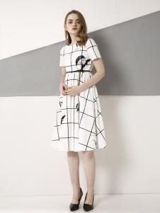 欧米媞2018春夏新款格子连衣裙