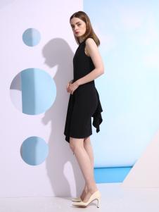 欧米媞新款无袖黑色连衣裙