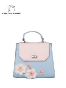 皮创文化新款梅花手拎包  粉蓝