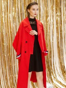迪笛欧18春装新款红色大衣