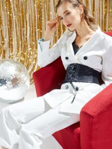 迪笛欧18春装新款白色套装