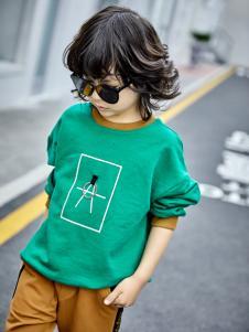 金果果18新款男童绿色卫衣